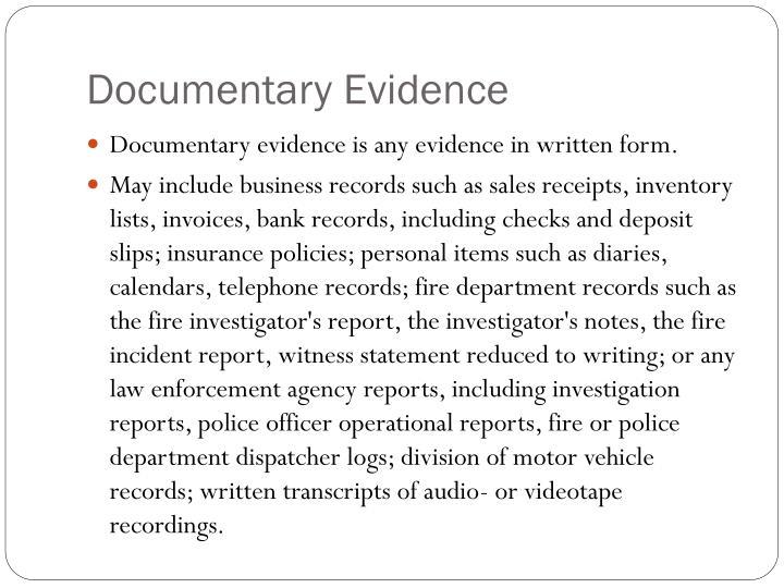 Documentary Evidence