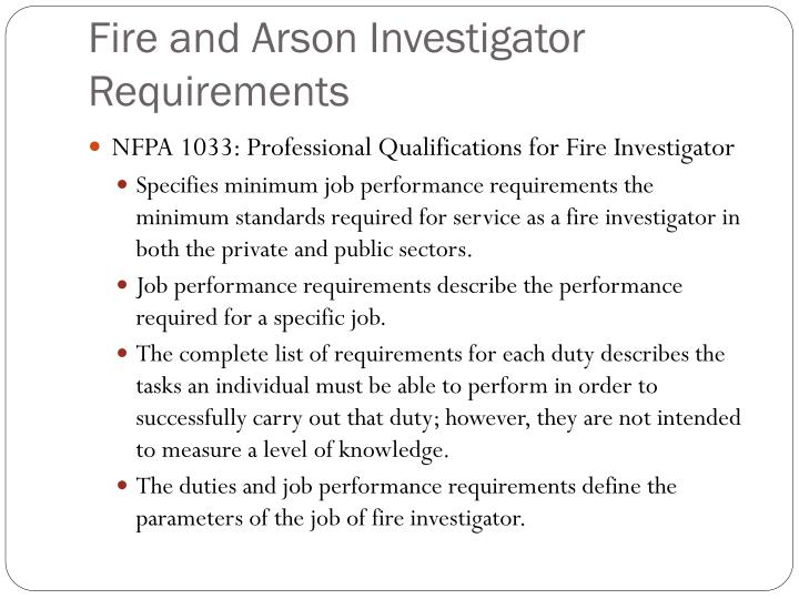 Fire and Arson Investigator Requirements