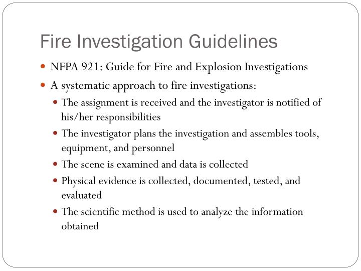 Fire Investigation Guidelines