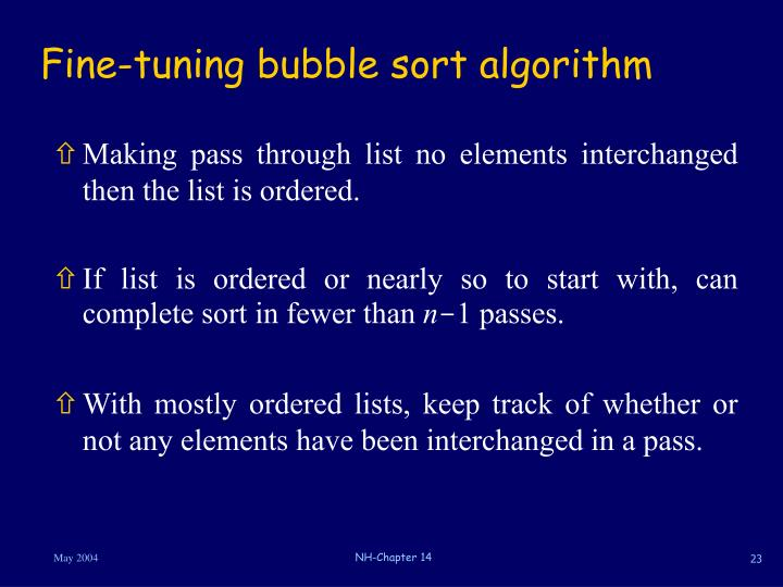 Fine-tuning bubble sort algorithm