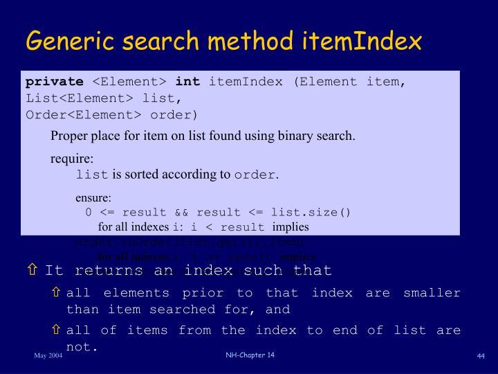Generic search method itemIndex