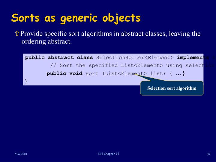 Sorts as generic objects