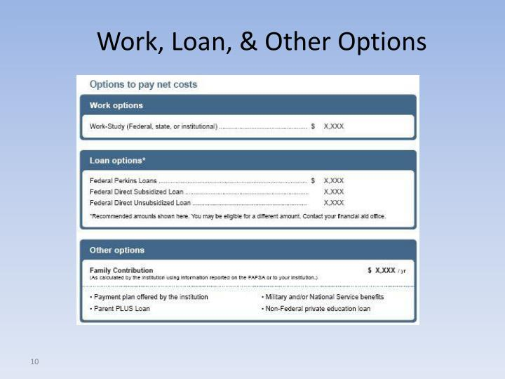 Work, Loan, & Other Options