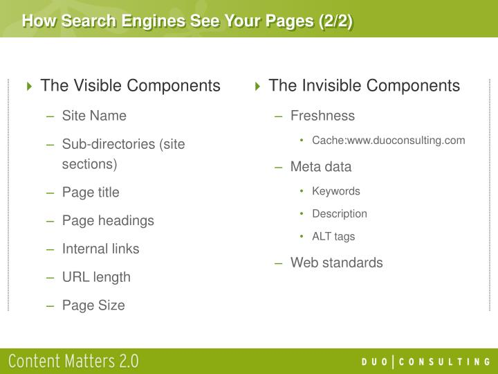 How Search Engines See Your Pages (2/2)