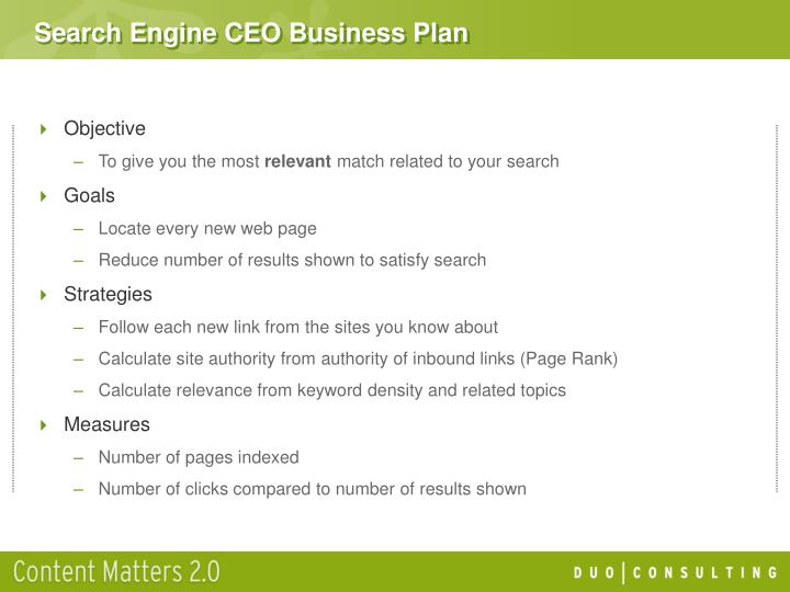 Search Engine CEO Business Plan