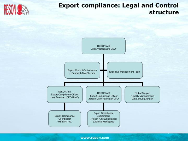 Export compliance: Legal and Control structure