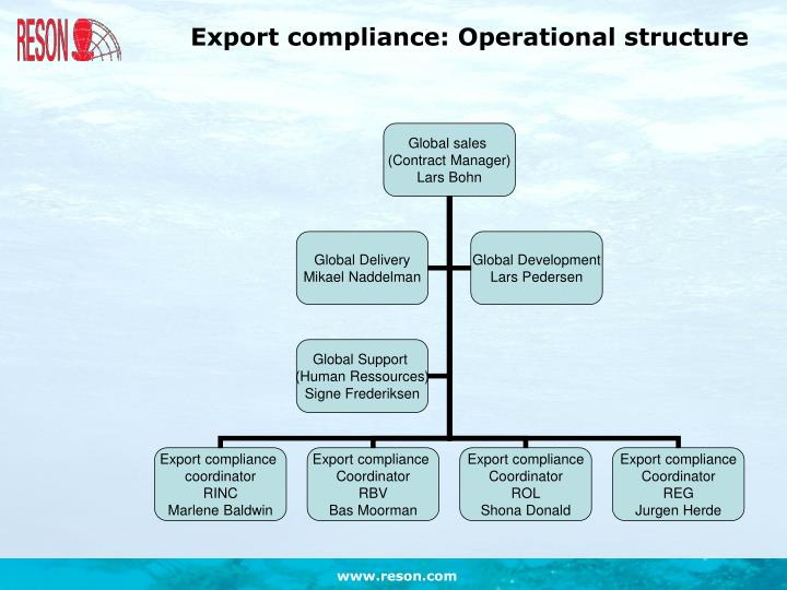Export compliance: Operational structure