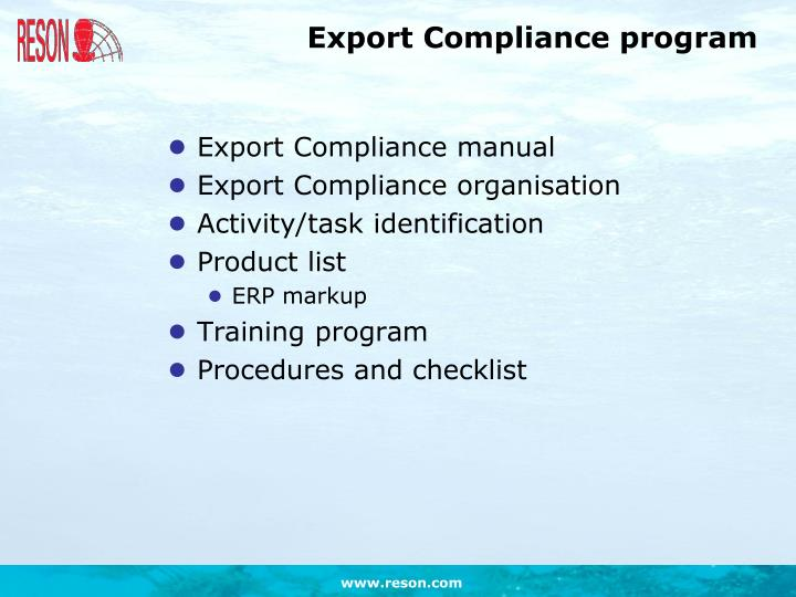 Export Compliance program