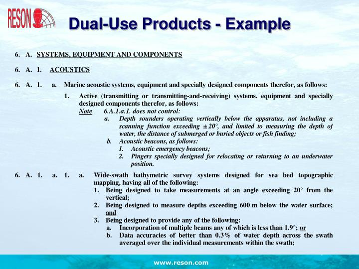Dual-Use Products - Example