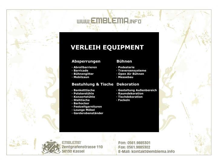 VERLEIH EQUIPMENT