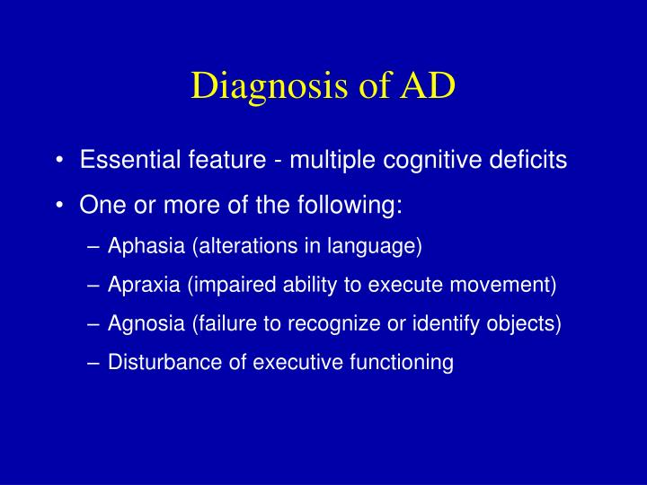 Diagnosis of AD