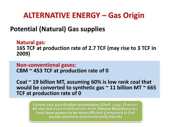 ALTERNATIVE ENERGY – Gas Origin