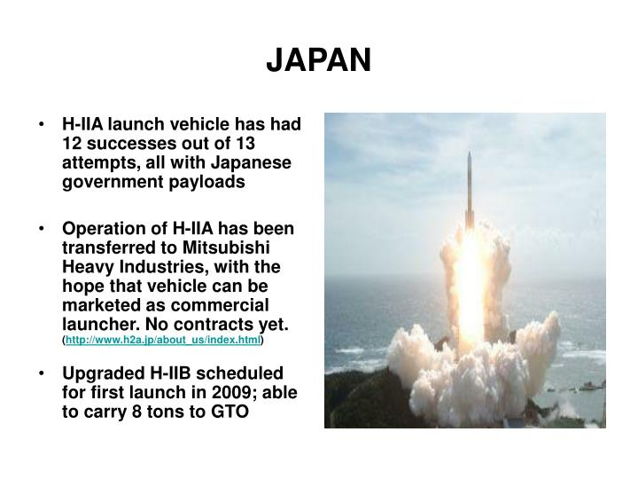 H-IIA launch vehicle has had 12 successes out of 13 attempts, all with Japanese government payloads