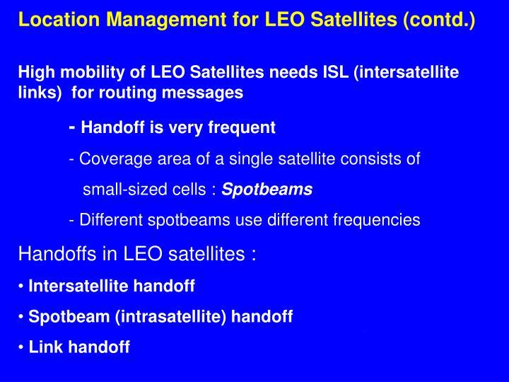 Location Management for LEO Satellites (contd.)