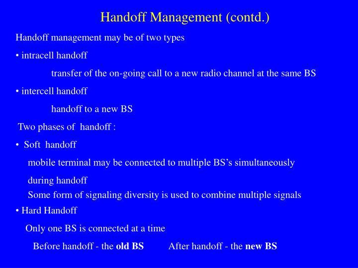 Handoff Management (contd.)