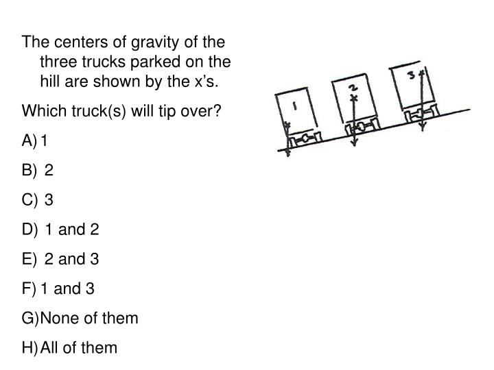 The centers of gravity of the three trucks parked on the hill are shown by the xs.