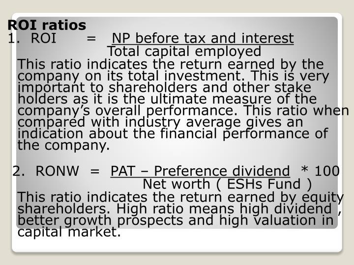 ROI ratios
