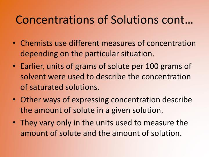 Concentrations of Solutions cont