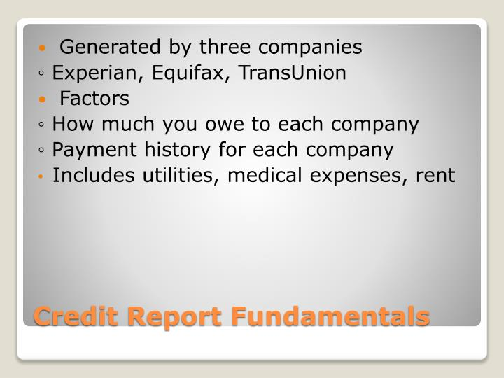 Credit report fundamentals