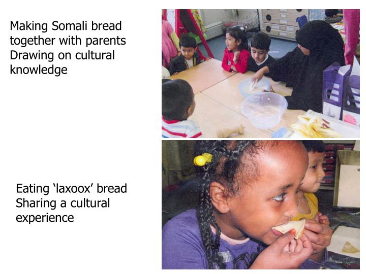 Making Somali bread together with parents Drawing on cultural knowledge