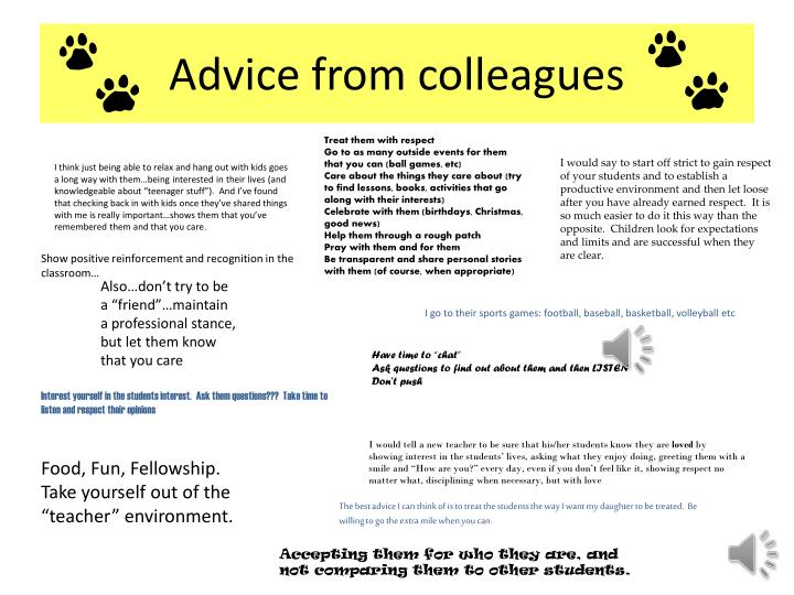 Advice from colleagues
