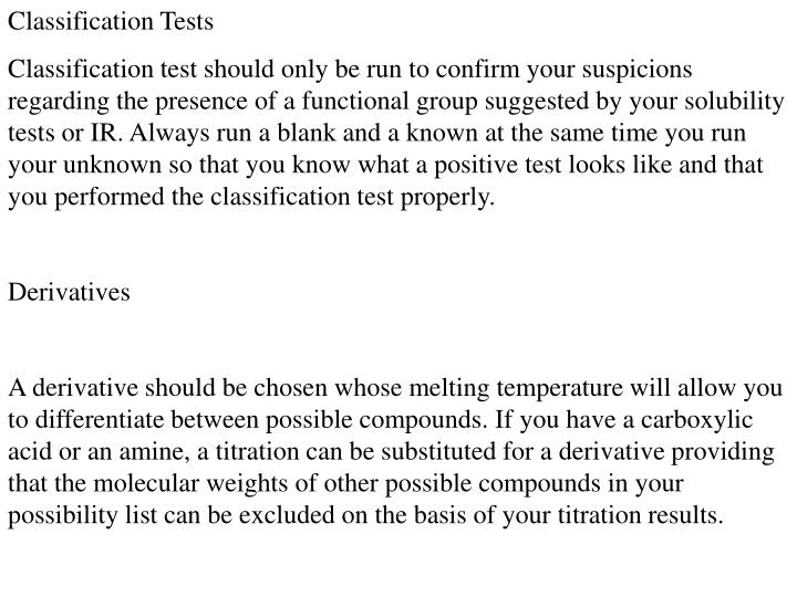 Classification Tests