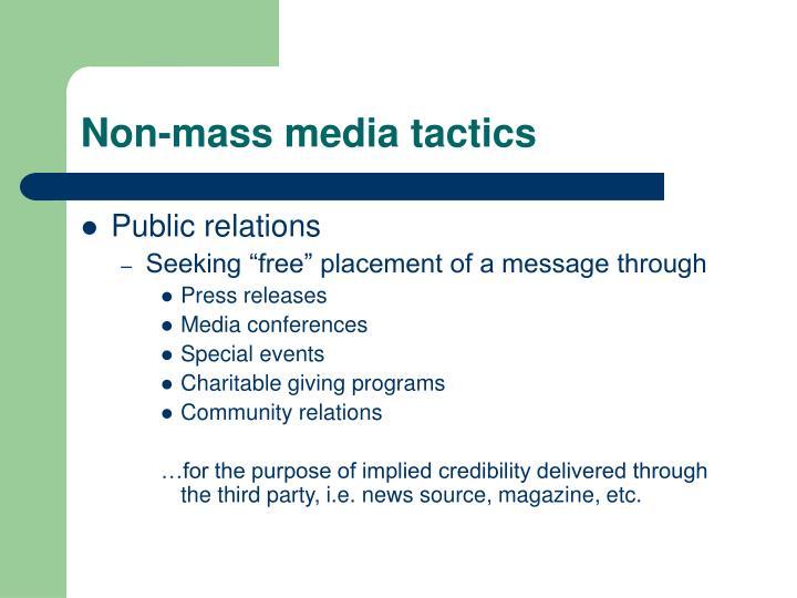 Non-mass media tactics