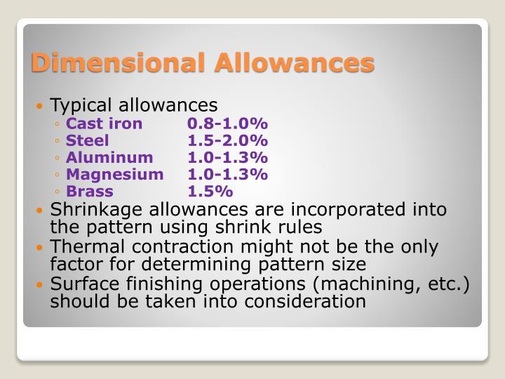 Typical allowances
