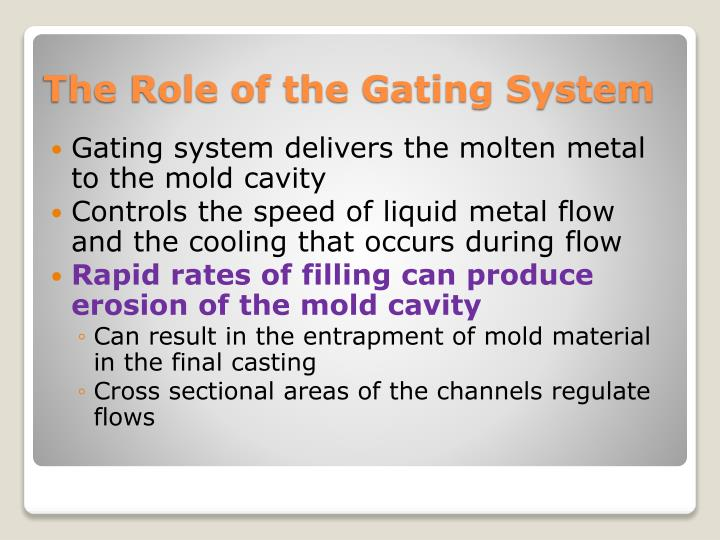 Gating system delivers the molten metal to the mold cavity