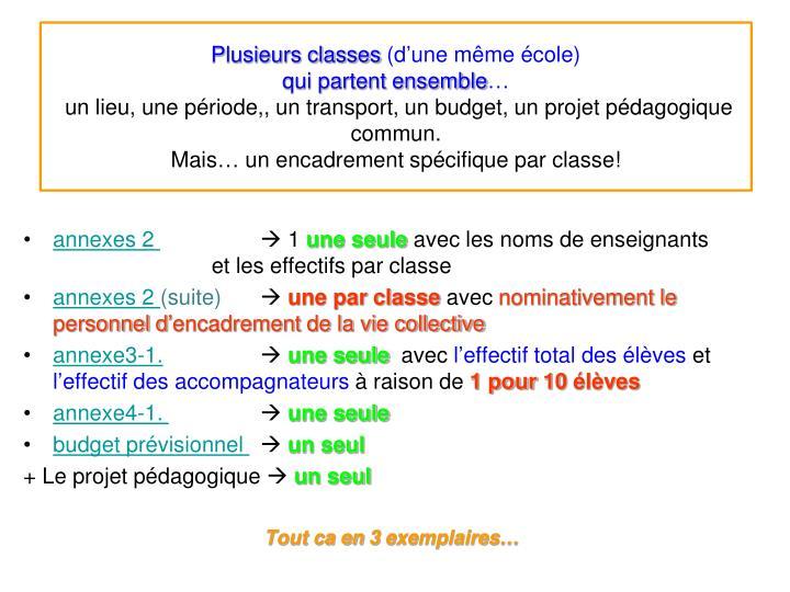 Plusieurs classes