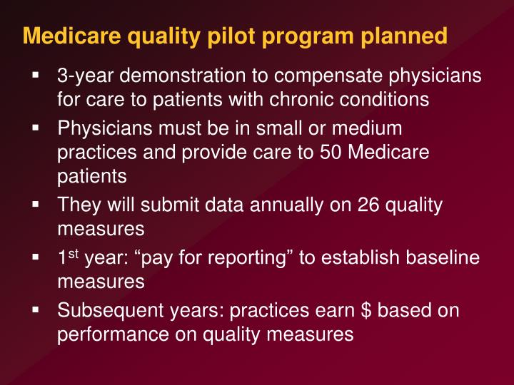 Medicare quality pilot program planned