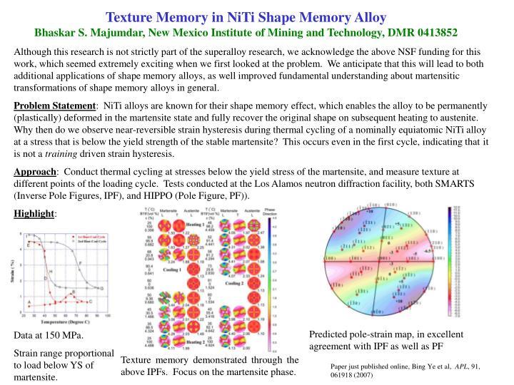 Texture Memory in NiTi Shape Memory Alloy