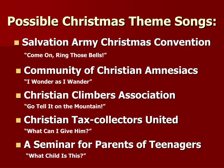 Possible christmas theme songs1