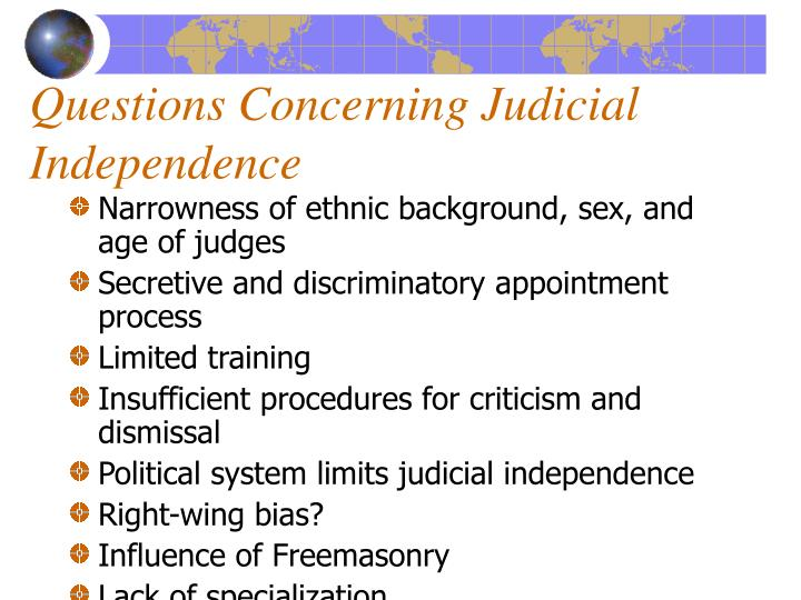 Questions Concerning Judicial Independence