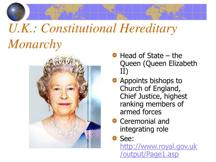 U.K.: Constitutional Hereditary Monarchy