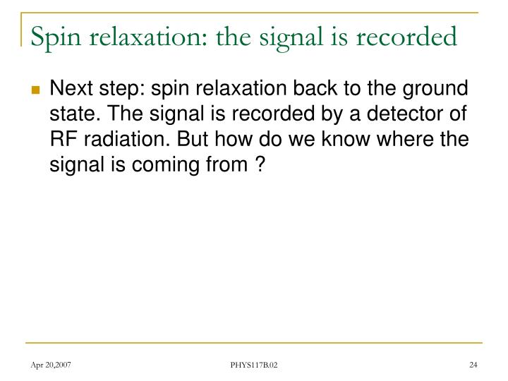Spin relaxation: the signal is recorded
