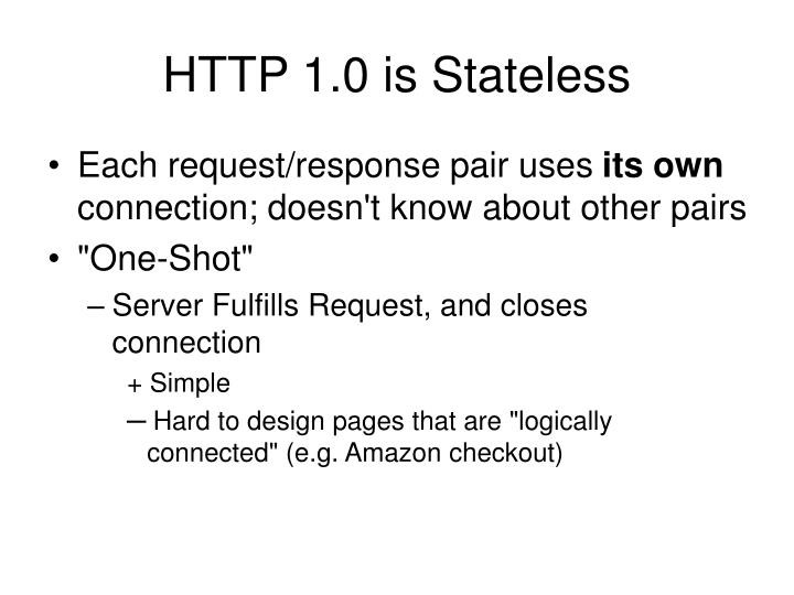 HTTP 1.0 is Stateless