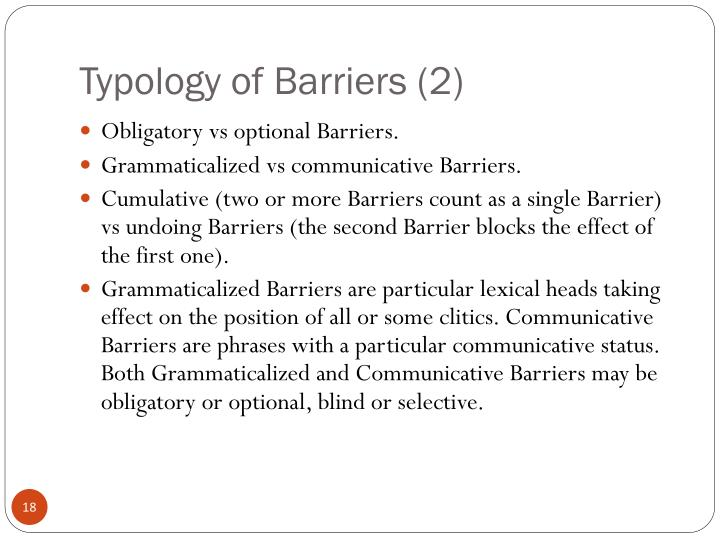 Typology of Barriers (2)