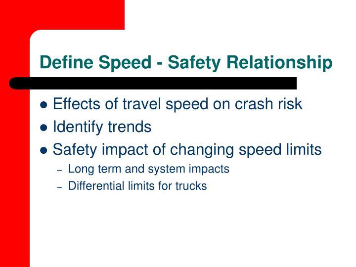 Define Speed - Safety Relationship