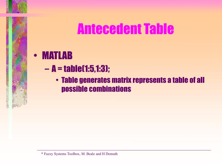 Antecedent Table