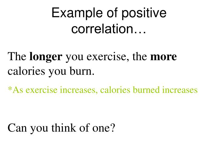 Example of positive correlation…