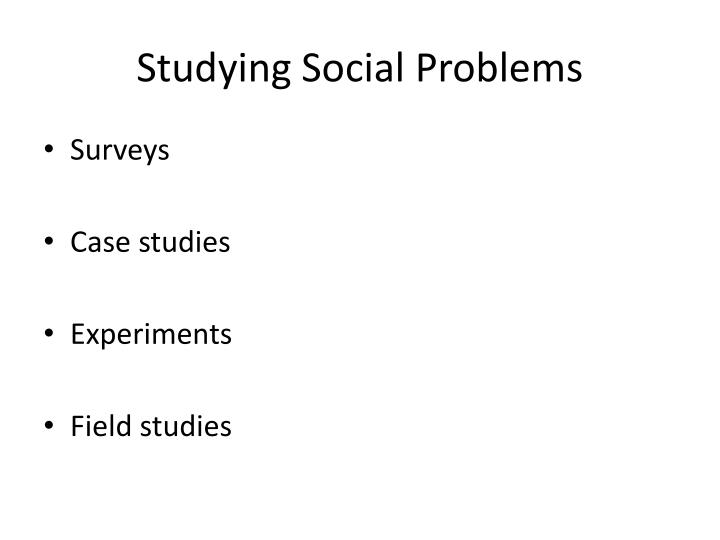 Studying Social Problems