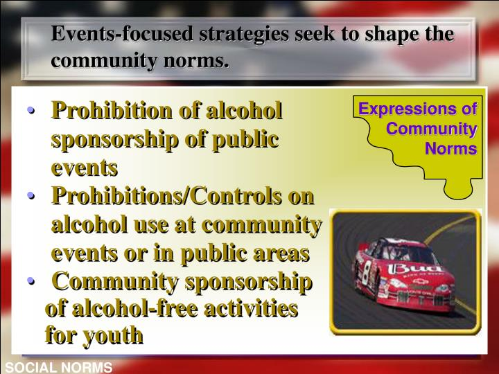 Events-focused strategies seek to shape the community norms.