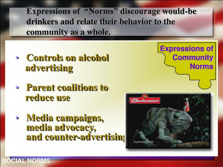 "Expressions of  ""Norms"" discourage would-be drinkers and relate their behavior to the community as a whole."