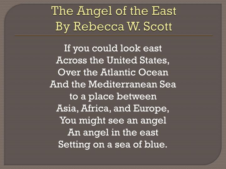 The angel of the east by rebecca w scott