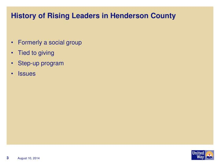 History of rising leaders in henderson county