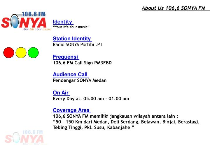 About Us 106,6 SONYA FM