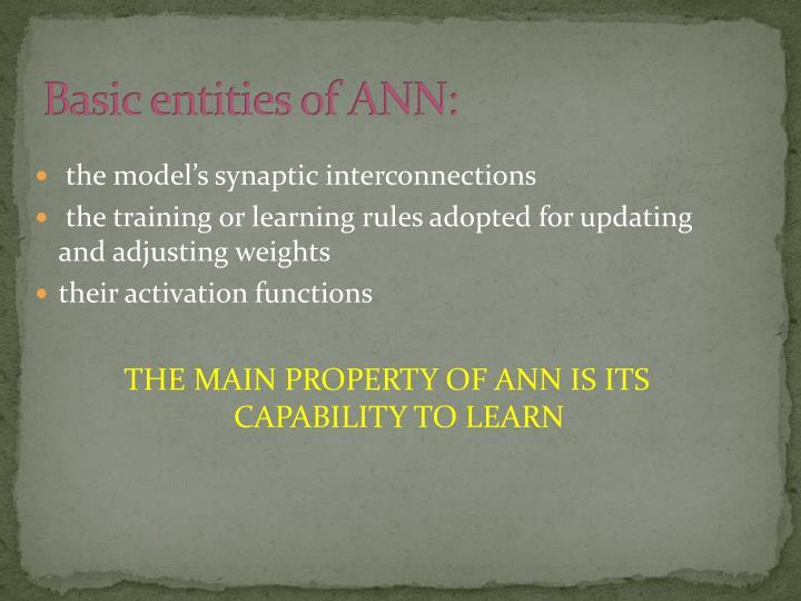 Basic entities of ANN: