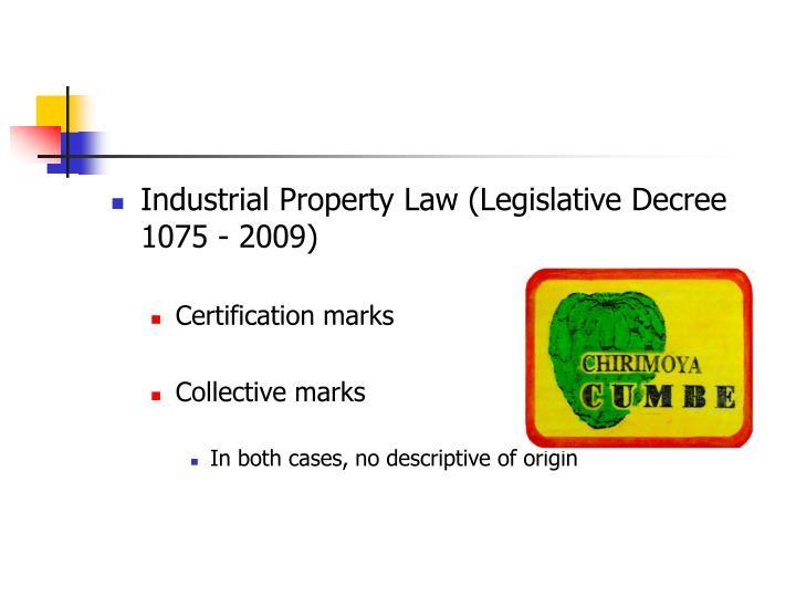 Industrial Property Law (Legislative Decree 1075 - 2009)
