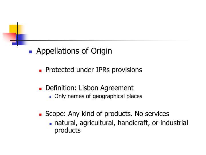Appellations of Origin